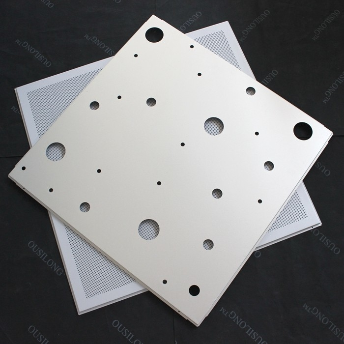 CNC Perforated Lay In Ceiling Tiles 600x600mm False Ceiling Panel RAL9010