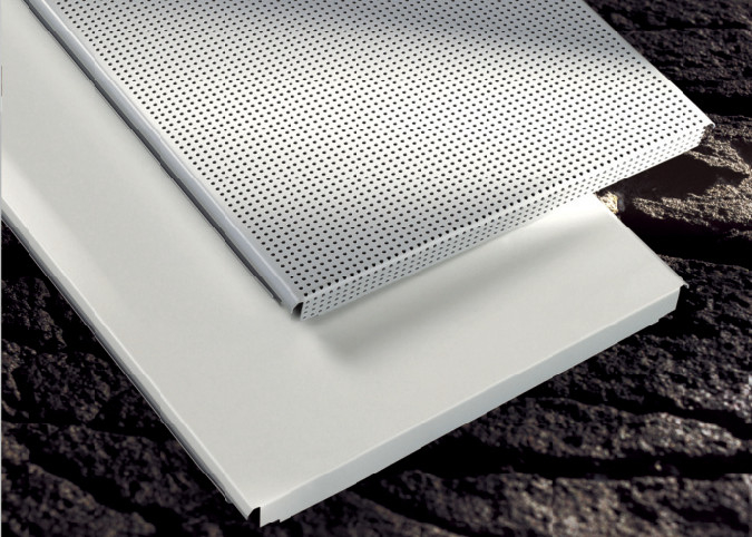 custom Perforated Metal Ceiling Tiles panels E shaped For Drop Down Ceiling , Hook on