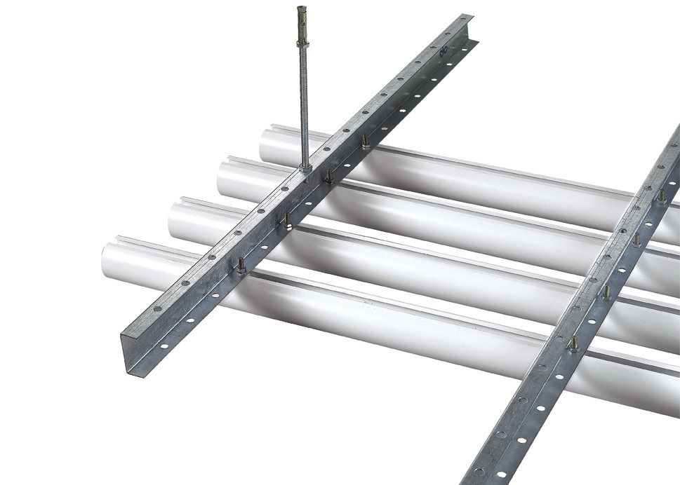 Linear Metal Commercial Suspended Ceiling Tiles , Aluminium Round Tube Ceiling